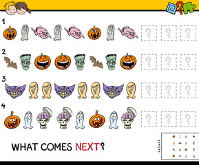 pattern educational game with Halloween characters