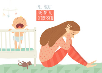Postpartum depression. Postnatal depression. Baby s blues. Cartoon vector hand drawn eps 10 illustration isolated on white background.