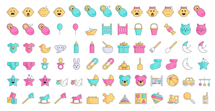 Kids, baby and newborn flat icon set with faces, toys and tools