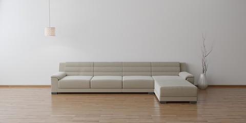 Idea of an empty minimalism living room interior with chair,sofa on the wooden floor - 3D render
