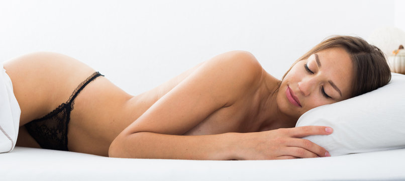 portrait naked woman sleeping