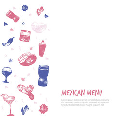 Bar menu banner with grunge glasses, drinks. Colorful drawing style. Template design isolated on white background