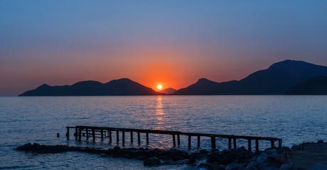 Beautiful sunset at the sea coast.