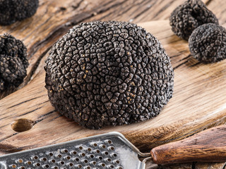 Black truffle mushrooms and grater on wooden background. Close-up.