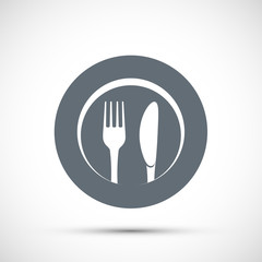 Icon plate with fork and knife. Logo for the restaurant and cafe.