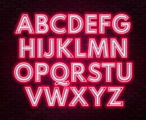 Red-white neon alphabet on a dark background . Capital letter.