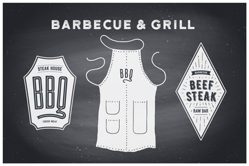 Barbecue, grill set. Poster bbq diagram and scheme - barbecue grill tools. Set of bbq stuff, apron, brand label, logo of steak grill house. Black chalkboard, hand drawn, chalk. Vector illustration