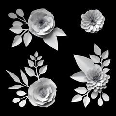 3d render, digital illustration, white paper flowers, design elements collection, clip art set, isolated on black background