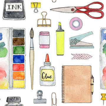 back to school. hand painted set of stationery and school supplies. seamless pattern.
