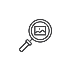 Image gallery search outline icon. linear style sign for mobile concept and web design. magnifying glass and picture simple line vector icon. Symbol, logo illustration. Pixel perfect vector graphics