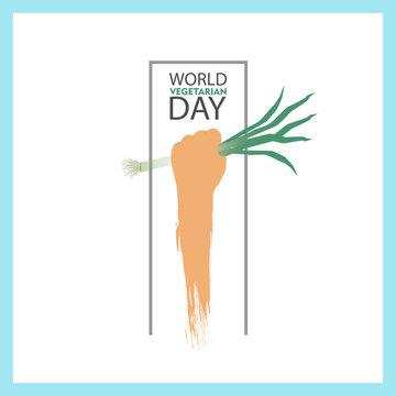 world vegetarian day 1  october hand holding leek vector illustration