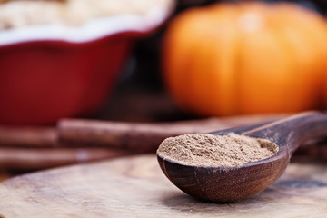 Pumpkin pie spice measured in a wooden spoon over a rustic wooden background. Pie and pumpkins in the background.  Blurred background with selective focus on spice.