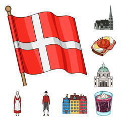 Traveling in Denmark cartoon icons in set collection for design. Denmark and attractions vector symbol stock web illustration.