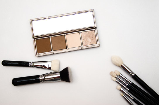 Brushes and multi-colored shadows for professional makeup