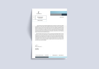 Letterhead Layout with Blue and Gray Accents