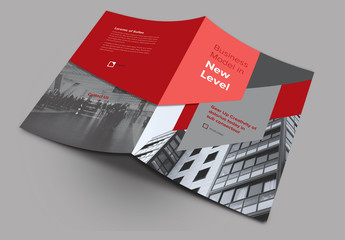 Bifold Brochure Layout with Abstract Elements and Red Accents