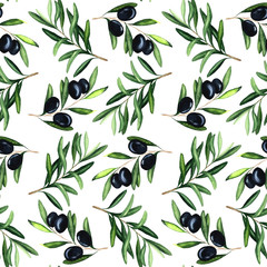 Watercolor seamless pattern with black olives and braunches