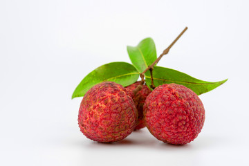Three lychee fruit on white background