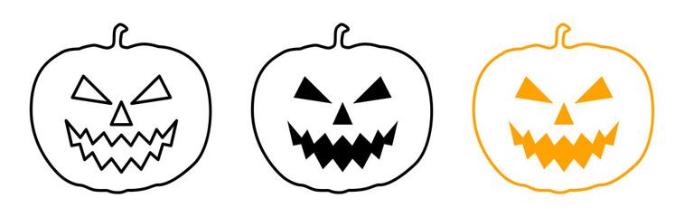 Line-Icon-Set: Halloween pumpkin / Vector