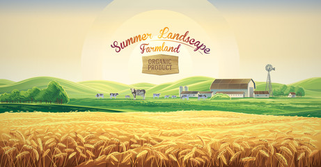 Printed kitchen splashbacks Beige Summer rural landscape with cows and farm, and wheat field, dawn above hills, with tematic label.