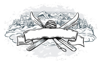 Graphic illustration with a set of objects symbolizing mountain skiing, and design element as a ribbon for text inscriptions.