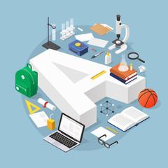 Isometric Education Concept Illustration