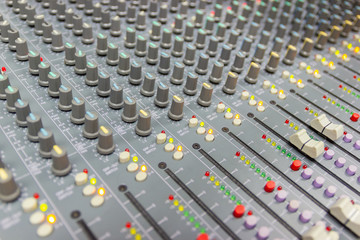 Close up Mixing Console of a big HiFi system, The audio equipment and control panel of digital studio mixer