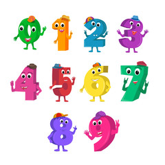 Set of funny cartoon numbers characters