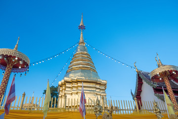 Stupa of Wat-Pratatdoikam (temple name) in Chiangmai, Thailand -  lot of Buddhism and tourist come to pray and worship.