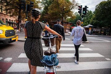 Stockholm,people  on the pedestrian crossing