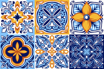 Italian ceramic tile pattern. Ethnic folk ornament.