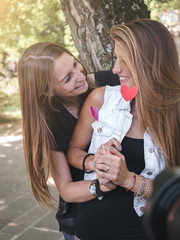 young female lesbian couple loving each other