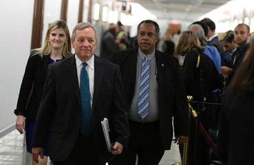 Sen. Dick Durbin, D-IL, arrives for the Senate Judiciary Committee confirmation hearing