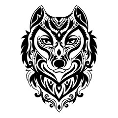 Vector tribal style wolf totem tattoo with ornaments