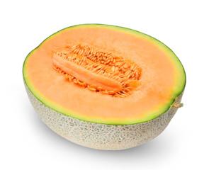 Half of orange melon or cantaloupe with seeds isolated on white background