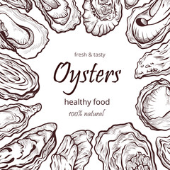 Oyster healthy natural sea food frame banner