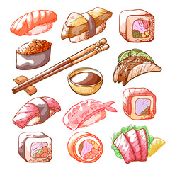 Sushi and rolls hand drawn food set