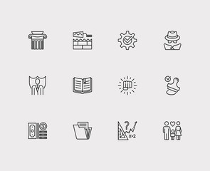 Court icons set. Stamp and court icons with family, compliance and money. Set of cover for web app logo UI design.