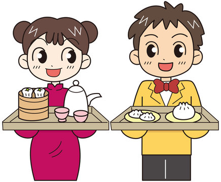 中華料理店 店員男女