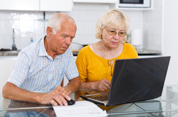 Mature man and woman discussing while looking at laptop together