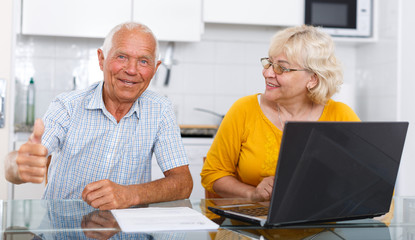 Mature man and woman discussing while working at laptop together