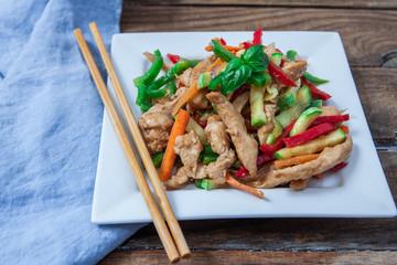 Chicken and veggies wok