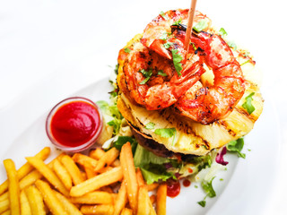 delicious Thai burger with prawn and  Golden French fries
