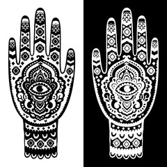 Vector Indian hand drawn hamsa symbol seamless pattern