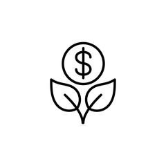 money tree growth line black vector icon