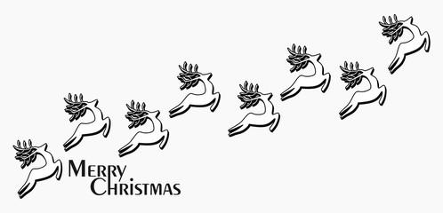Merry Christmas - Grußkarte mit Rentieren