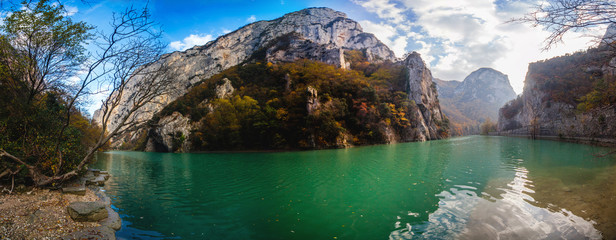 Natural reserve of the Furlo Gorge in the Marche, Italy