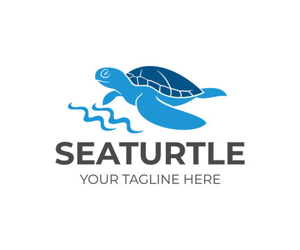 Sea turtle by the coastline and waves, logo design. Animal, wildlife, sea life and nature, vector design and illustration
