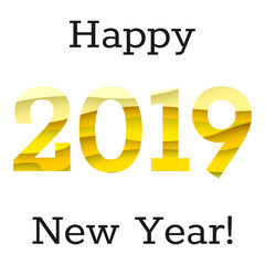 Inscription Happy New Year 2019 with yellow 3d layers. Vector illustration
