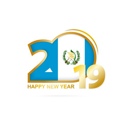 Year 2019 with Guatemala Flag pattern. Happy New Year Design.